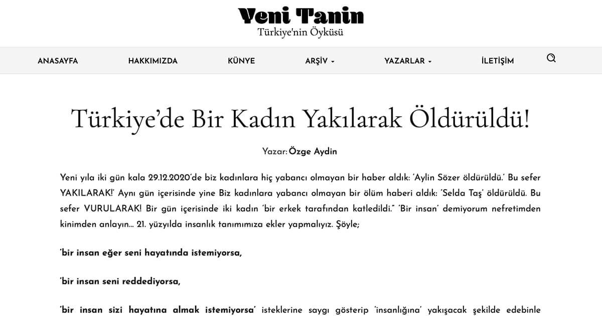Türkiye'de Bir Kadın Yakılarak Öldürüldü!
