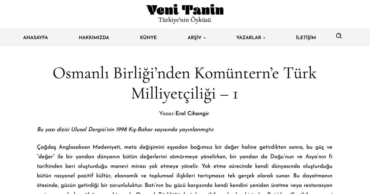 Osmanlı Birliği'nden Komüntern'e Türk Milliyetçiliği – 1