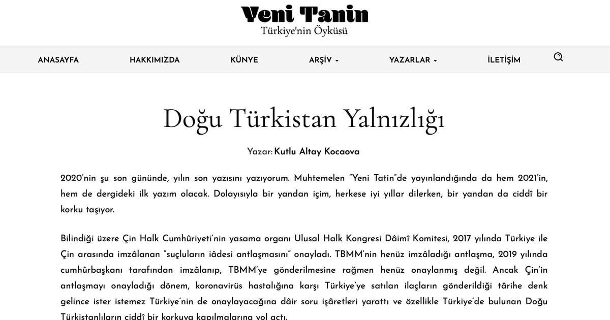 Doğu Türkistan Yalnızlığı