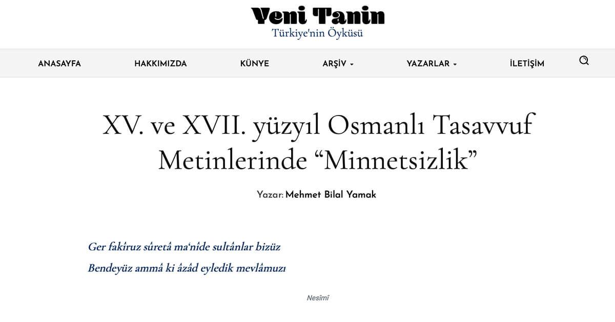 """XV. ve XVII. yüzyıl Osmanlı Tasavvuf Metinlerinde """"Minnetsizlik"""""""